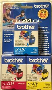 Brand New Genuine OEM Brother LC41CL3PKS New Color Ink Cartridges Exp - Sealed!