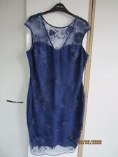 Lipsy sleeveless stretchy dress size 16 with lacy outer layer in dark navy blue