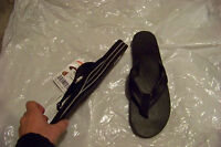 new womens rainbow classic black leather flip flops sandals shoes xl 8.5-9.5