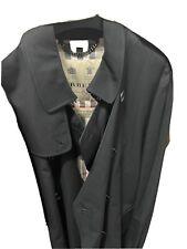 Mens Burberry Kensington Black Trench Coat Size 54R EXCELLENT CONDITION!