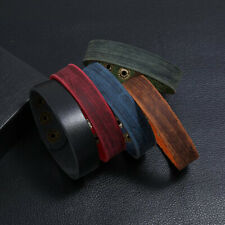 Men Retro Punk LeatherWrap Snap Bangle Bracelet Wristband Adjustable Simple Cuff
