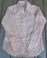 Vintage 70s Turtle Bax Western Shirt Orange Flowers Pearl Buttons Rockabilly 16