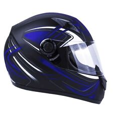 Adult Full Face Motorcycle Helmet DOT Matte Finish Blue Orange Pink Matte Black