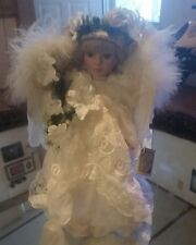 """Porcelain Doll Christmas Angel with Blonde Hair 16"""" inch Collectors Choice"""