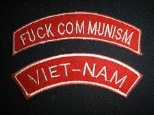 2 Vietnam War Tabs Patches: F-CK COMMUNISM + VIETNAM