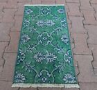 Floral Green Doormat Rug Anatolian Vintage Hand Knotted Oushak Carpet 1.5x2.4 ft