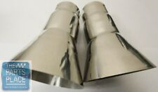 """68-72 Cutlass 442 Trumpet Tail Pipe Exhaust Extensions Pr Stainless - 2"""""""