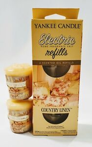 Yankee Candle Country Linen Electric Home Fragrance Refills & 2 Votives Lot New