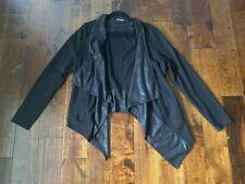 Cabi #527 Size XL Owens Jacket Drape Waterfall Cardigan Faux Leather Contrast