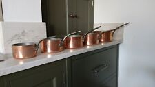 More details for vintage set of 5 french copper saucepans steel handles & hanging rail
