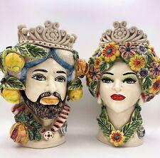 Testa di Moro in ceramica di Caltagirone Siciliana 4 stagioni testa frutta vaso
