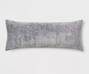 Room Essentials Embossed Body Pillow Cover Grey 20 in x 50 in New