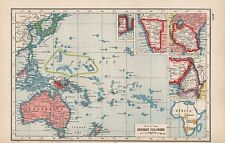 1920 MAP -WORLD WAR 1- FATE OF THE GERMAN COLONIES