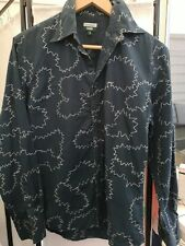AUTHENTIC PS PAUL SMITH JEANS NAVY BLUE EMBROIDERED LONG SLEEVES SHIRT. SMALL