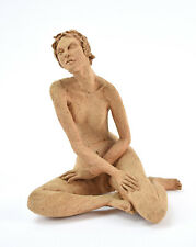 Vintage Art Pottery Terra Cotta Nude Figure Seated Nude Woman M. Lidov Chicago