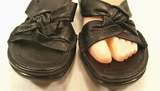 Easy Spirit Black Leather Slip On Slide Sandals Shoes Women's Size 9 Narrow EUC