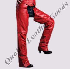 véritable cuir rouge femme Chaps fermeture éclair côté style moto motard =