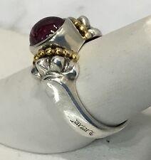 Lagos Caviar Cabachon Pink Tourmaline Sterling Silver  750 18K Yellow Gold Ring