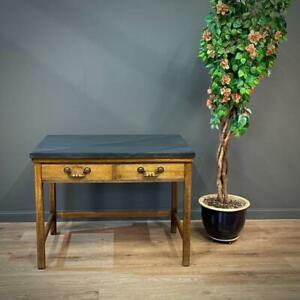 Attractive Antique Rustic Oak Marble Top Farmhouse Kitchen Side Work Table
