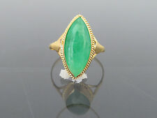 Vintage 18K Solid Yellow Gold Natural Green Jadeite Jade Marquise Ring Size 7.5