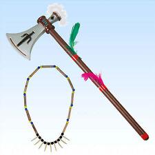 Tomahawk + Halskette mit Zähnen  Kostüm Indianer Indianerkostüm Indianerschmuck