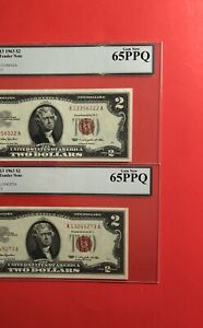 1963-2 RED SEAL $2 LEGAL TENDER NOTES,GRADED BY LEGACY GEM NEW 65 PPQ.