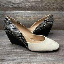 Tahari Palace Women's Wedge Heels Shoes Tan Faux Suede Snake Print Size 10