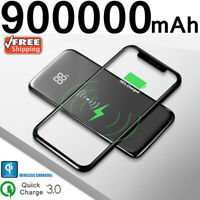 900000mAh Qi Wireless Portable Power Bank 2 USB Fast Charging Charger for Phone