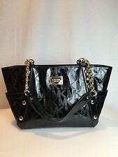 a39ee1c32ef401 NWT $448 MICHAEL KORS Delancy Black MK Mirror Chain Medium Tote Purse  Handbag