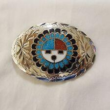 Vintage Native American Inlay Design Chrome Silvertone Belt Buckle