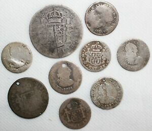 Lot of 9 1700's-1800's Spanish Silver Reales CULL Coins Damaged Worn Holed Bent