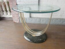 Vintage Oval Glass/Brass Table with Marble Base Deco, Nice!