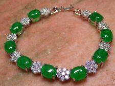Gold Plate ICY Green JADE Cabochon Bangle Bracelet Diamond (Imitation) 310365