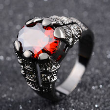 Halo Solitaire Size 11 Red Garnet Black 18K Gold Filled Nobby Wedding Ring Gift