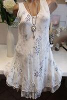 Knielang Kleid Trägerkleid Hippie Blau-Weiß Volant Ornamente 36-38-40 Lagenlook