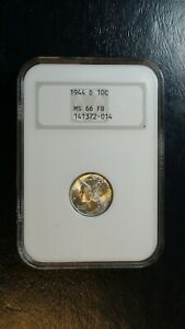 1944 D Mercury Dime NGC MS66 FULL BANDS SILVER 10C Coin Starts At 99 Cents!