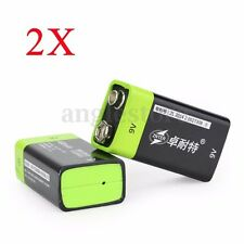 2PCS High Capacity ZNTER 9V 400mAh Li-po Li-ion Polymer USB Rechargeable Battery