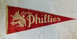 Rare 1950s FIGHTIN' PHILLIES  Pennant Flag - Philadelphia Pennsylvania Baseball