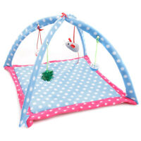 Pet Dog Cat Bed Kitten Breathable Green Cartoon Fun Bell Toy Foldable Cats Tent