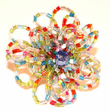 Multi Color Rainbow Seed Bead Flower Unique Giant Poof Fashion Stretch Ring 67 8