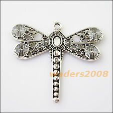 2 New Flying Dragonfly Animal Tibetan Silver Tone Charms Pendants 53x59mm