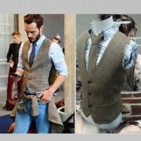 Mens Herringbone Vests Tweed Waistcoat Vest Retro Gilet Formal Suits Jacket