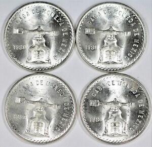 Lot Of 4x 1980 1 Oz Silver Mexican Onza Casa De Moneda No Reserve Auction B850