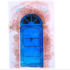 Blue Door With Floral Arch Painted Canvas on Wood Frame Home Wall Decor
