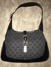 Gucci Black Jackie O Medium  GG Canvas /Leather Hobo Handbag