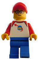 Lego Mann rote Kappe Classic Space Shirt Beine blau Minifigur trn247 Figur Neu