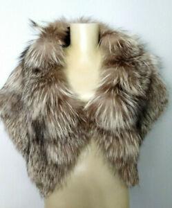 Genuine Silver Fox Fur Stole Wrap Womens One Size