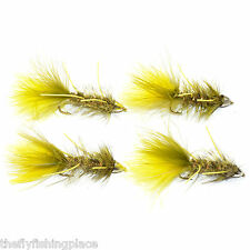 Fly Fishing Flies Cone Head Yellow Olive Bugger - 4 Flies Size 4 Trout Bass Fly
