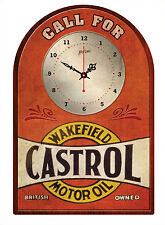 CASTROL WAKEFIELD MOTOR OIL RUSTIC  TIN SIGN CLOCK