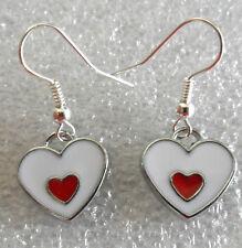 Dangle earrings - White, red enamel hearts